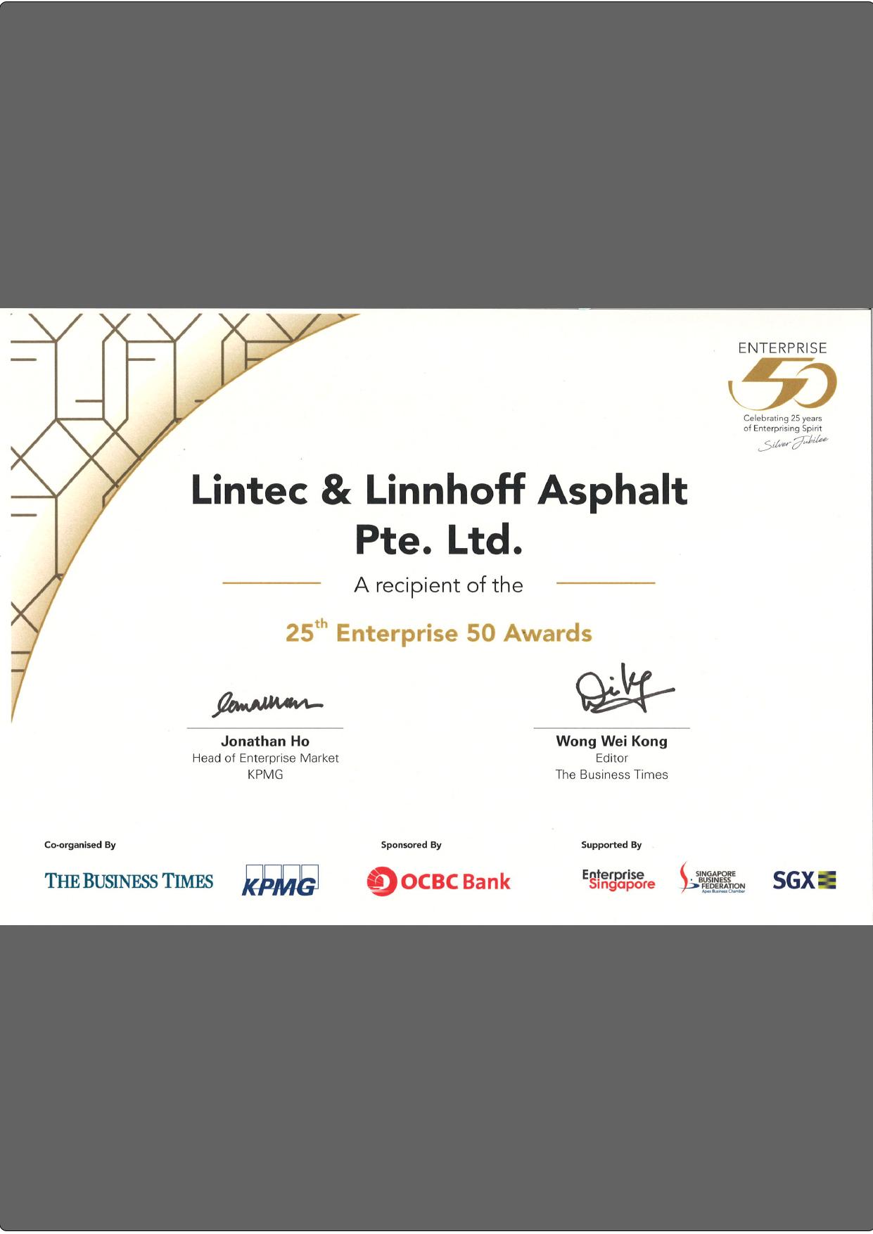 Enterprise 50 Certificate